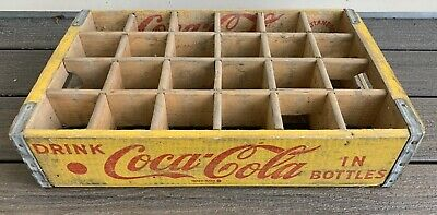 Vtg 60s COKE BOTTLE Yellow WOODEN CRATE 1965 Chattanooga Tennessee Coca Cola