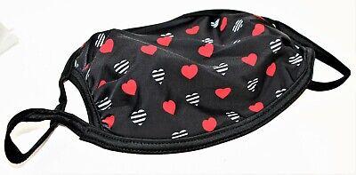 x1 Sephora Face Facial Cloth Fabric Face Mask Makeup Design Black & Red Hearts