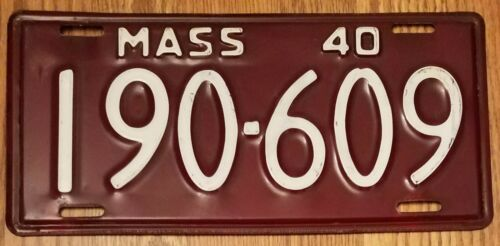 "1940 MASSACHUSETTS MA LICENSE PLATE TAG ""190-609""– ANTIQUE, Vintage."
