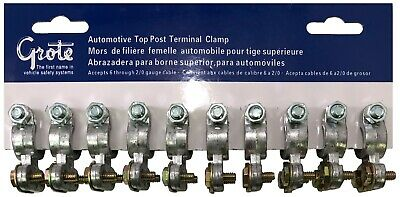 10 Automotive Heavy Duty Top Post Battery Cable End 6-20 Wire Terminal Clamp