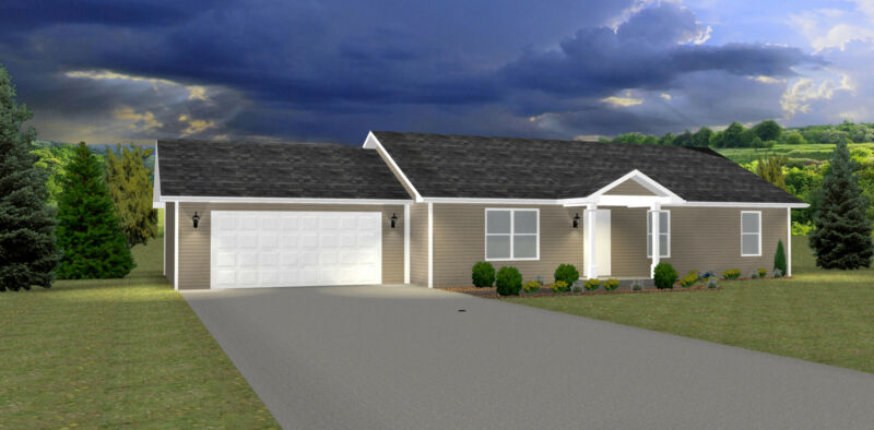 1276 Sq.Ft. Ranch house plans - 3 Bed, 2 Bath, Great Starter Home - PDF ONLY