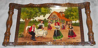 Holztablett, 45 x 23 x 5 cm, handbemalt, signiert, Sammler Rarität, Folklore,