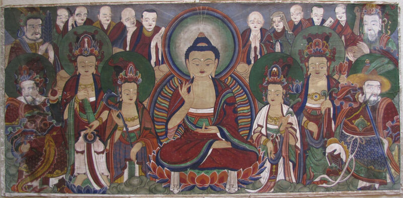 An Exceptional Large, Fine and Rare Korean Buddhist Painting-19th C.