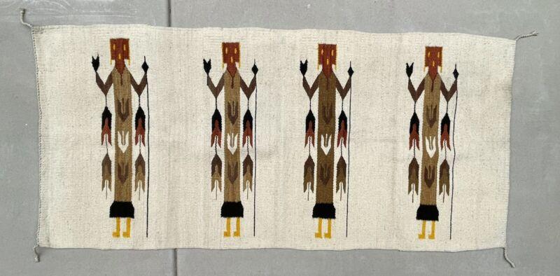 Vintage Native American Navajo Yei Hand Made Wool Rug 29x61