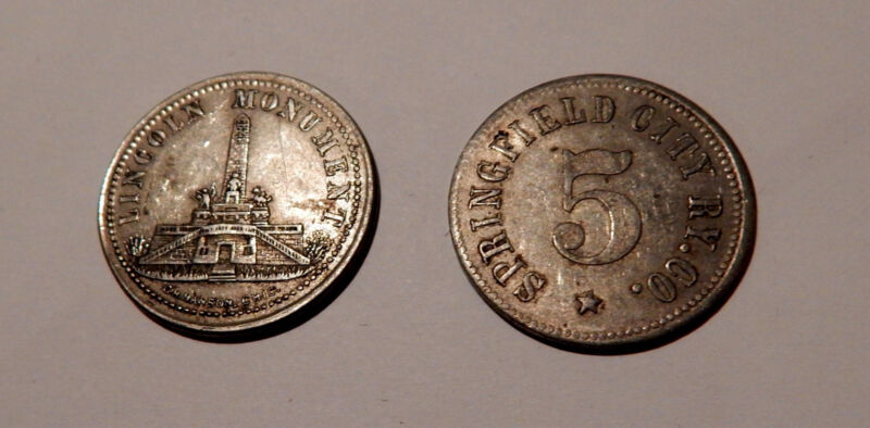 EARLY SPRINGFIELD IL RAILWAY TRANSPORTATION TOKEN LINCOLN