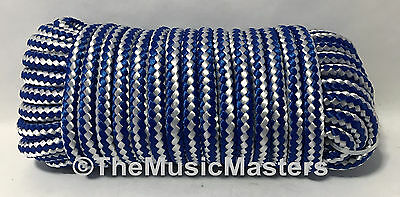 Blue White Double Braid Poly 3 8  X 50 Marine Utility Rope Boat Dock Line Cord