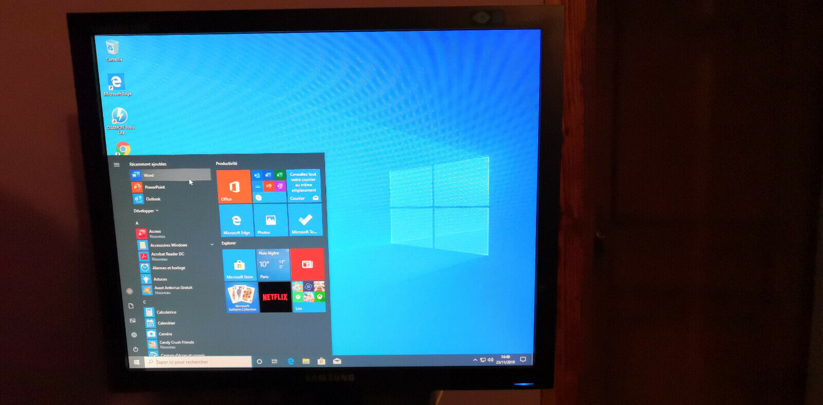Ordinateur tour pc de bureau windows 10 - ecran 19