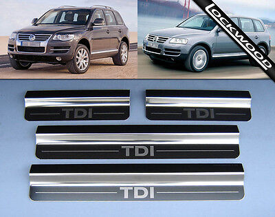 VW Touareg Mk1 (2002-2010) TDi Stainless Steel Sill Protectors / Kick Plates