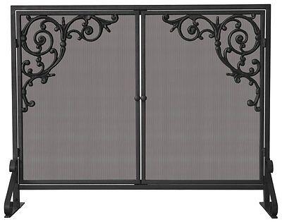 Uniflame SINGLE PANEL OLDE WORLD IRON SCREEN W/ DOORS & CAST SCROLLS S-1471 NEW
