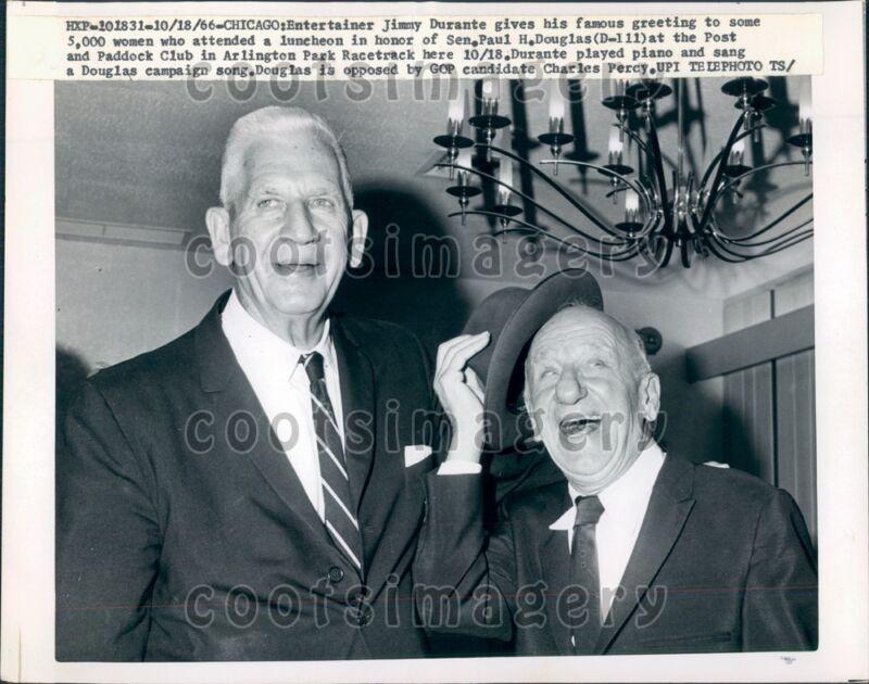 1966 Actor Jimmy Durante With IL Senator Paul Douglas Press Photo
