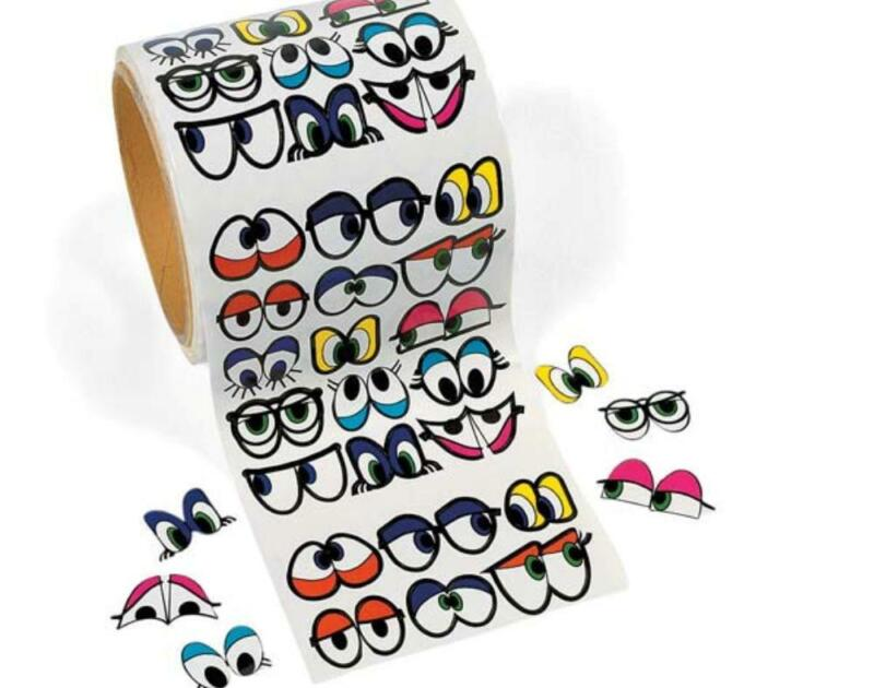 Coloured Cute Eyes Stickers for Kids Crafts - Roll of 1000 | Wiggly Wobbly Eyes