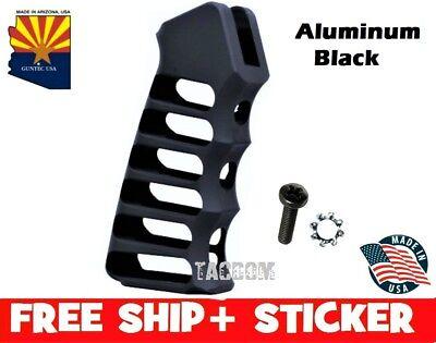 Guntec USA Black Ultralight Skeletonized Aluminum Anodized Grip w Screw & Washer