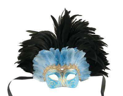 Mask from Venice Colombine in Feathers Ostrich Blue Black-Mask Venetian - 858