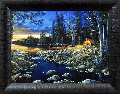 Jim Hansel  Headwaters  Lake Camping Studio Canvas Framed Print  19  X 15