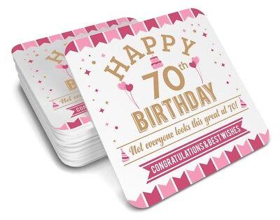 70th Birthday Happy Gift Present Idea Women Female Keepsake Lady's Coaster ()