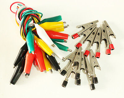 22 Pcs Alligator Clip Test Leads Jumper Probe Wire 19-12 Long