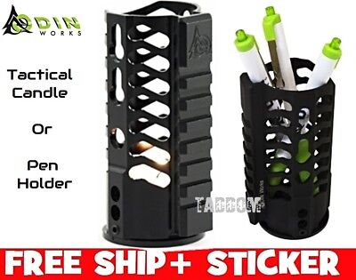 Odin Works Tactical Candle or Pen Holder Black Made out of a Hand guard Rail QD (Guard Rail Holder)
