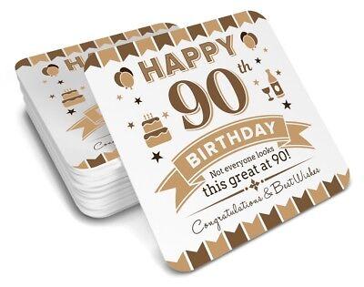90th  Birthday Happy Present Gift Idea For Men Him Male Keepsake Drinks Coaster