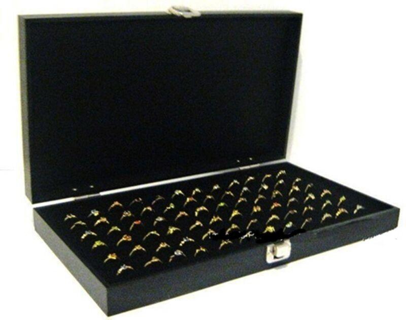 Key Lock Locking Solid Top Lid 72 Ring Black Jewelry Display Box Storage Case