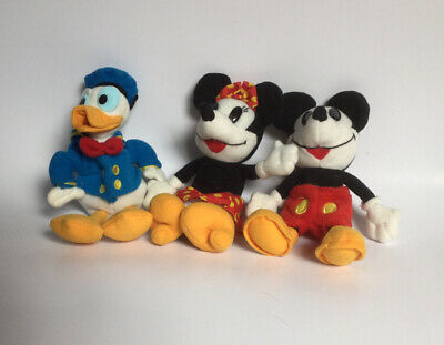 3 Vintage Disney Plush Donald Duck Minnie Mouse Mickey Stuffed Animals