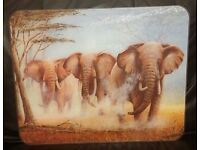 Large Tuftop used (occasionally) glass chopping board - Elephants Kitchen Worktop Saver Protector
