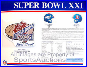 SUPER-BOWL-21-Giants-Broncos-1987-Willabee-Ward-OFFICIAL-SB-XXI-NFL-PATCH-CARD