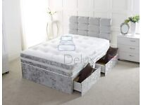 💛💛EASY TO ASSEMBLE💛💛 DOUBLE CRUSHED VELVET DIVAN BED BASE WITH DEEP QUILTED MATTRESS