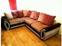 DFS 6 Seater Corner Sofa Bed Helix Red, Brown & Beige NEARLY NEW.