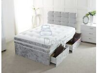 💛💛BEST SELLING BRAND💛💛 DOUBLE CRUSHED VELVET DIVAN BED BASE WITH DEEP QUILTED MATTRESS
