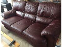 Burgundy leather sofa set