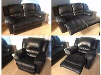 Leather Recliner Sofa and Armchair. Two Piece Suite. Excellent Condition