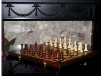 HANDMADE WOODEN TOURNAMENT CHESS SET WITH WEIGHTED PIECES 48 x 48 cm