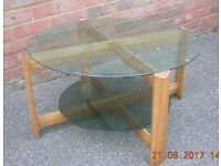 G PLAN GLASS 2 TIER COFFEE TABLE,