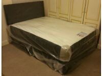"***New*** Double 4'6"" Divan Bed with Memory Foam Mattress & Headboard (07440 332255)"