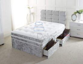 ☀️💚☀️CASH ON DELIVERY☀️💚☀️ CRUSH VELVET DOUBLE DIVAN BED + SEMI ORTHOPEDIC MATTRESS
