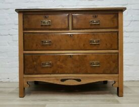 Victorian Stripped Mahogany & Walnut Chest Of Drawers (DELIVERY AVAILABLE)