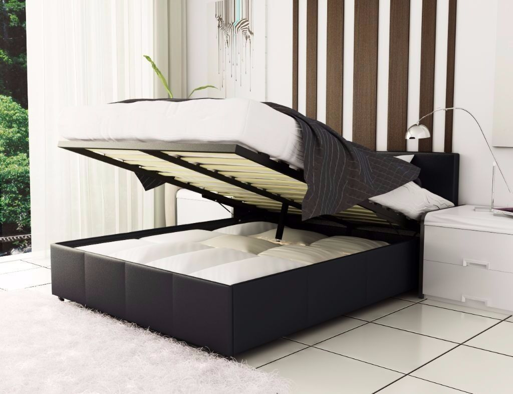 Brand New Double Single And King Gas Lift Up Storage Leather Bed Deep Quilted Mattress