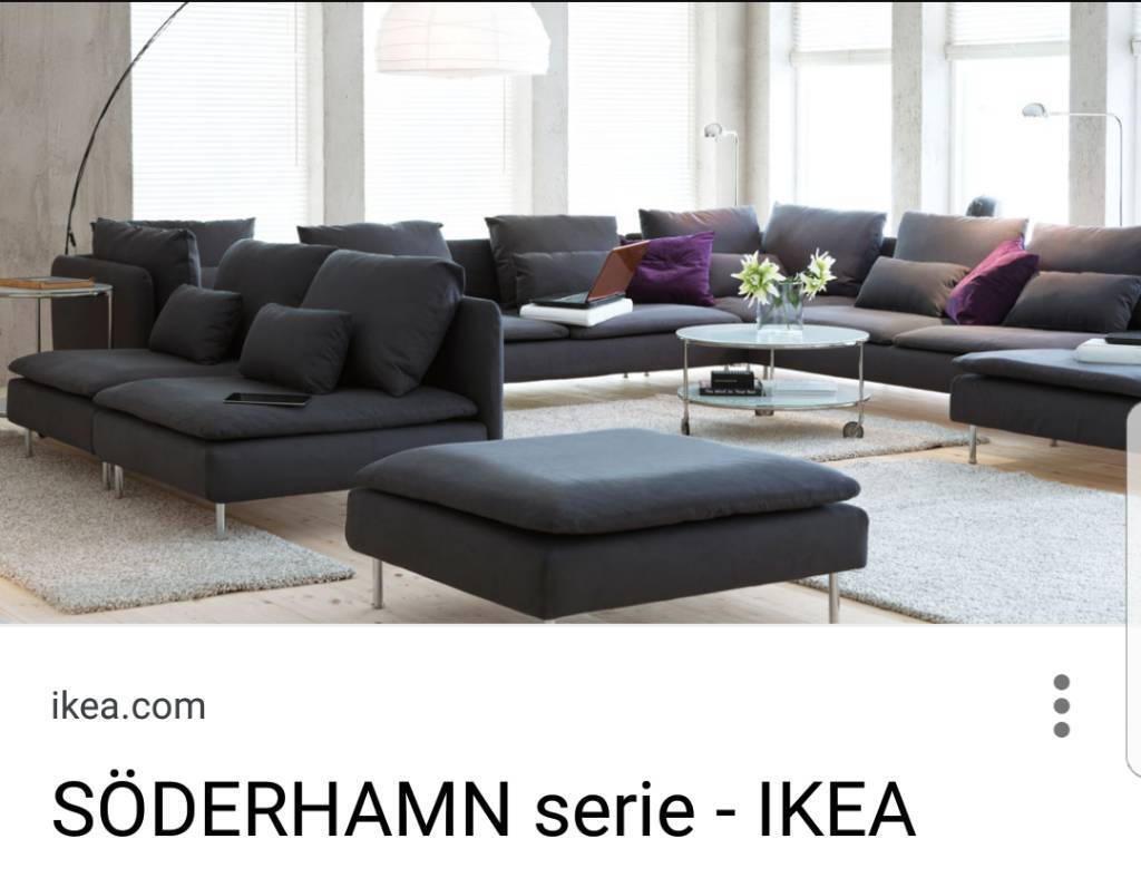 Ikea modular dark grey sofa
