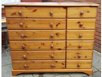 chest of 12 drawers. solid pine wood throughout. In used but good condition.
