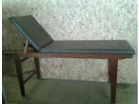 MAHOGANY ADJUSTABLE MASSAGE TABLE LOVELY CONDITION.