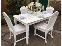French Shabby Chic Rectangular Dining Table & 4 Chairs ~ 6 seater dining table