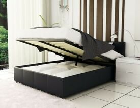 BLACK AND BROWN COLOURS! BRAND NEW LEATHER STORAGE DOUBLE AND KING BEDS WITH MATTRESS RANGE
