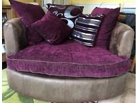 Two Seater swivel sofa in purple/silver
