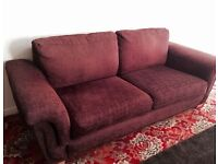 Gorgeous Large 3 Seater Burgundy colour Fabric Sofa / Couch.
