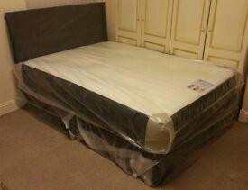 ***New*** King Size Divan Bed with Memory Foam Mattress & Headboard