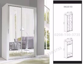 【120 CM WARDROBE £199】HIGH QUALITY BRAND NEW SLIDING DOOR WARDROBE FULL MIRROR DIFFIRENTE COLORS