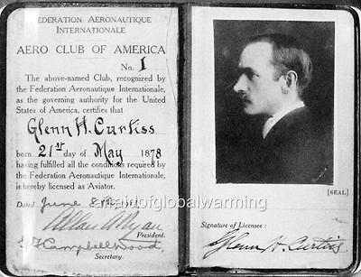 Old Photo. Pilot License for Glenn Curtiss - Identification
