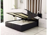 **CHEAPEST PRICE GUARANTEED** BRAND NEW LEATHER STORAGE DOUBLE AND KING BEDS WITH MATTRESS RANGE