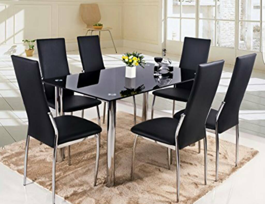 6 seater black glass table