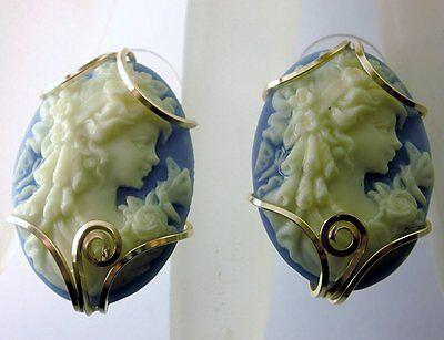 Grecian Goddess Cameo Earrings 14k Gold gf Minerva